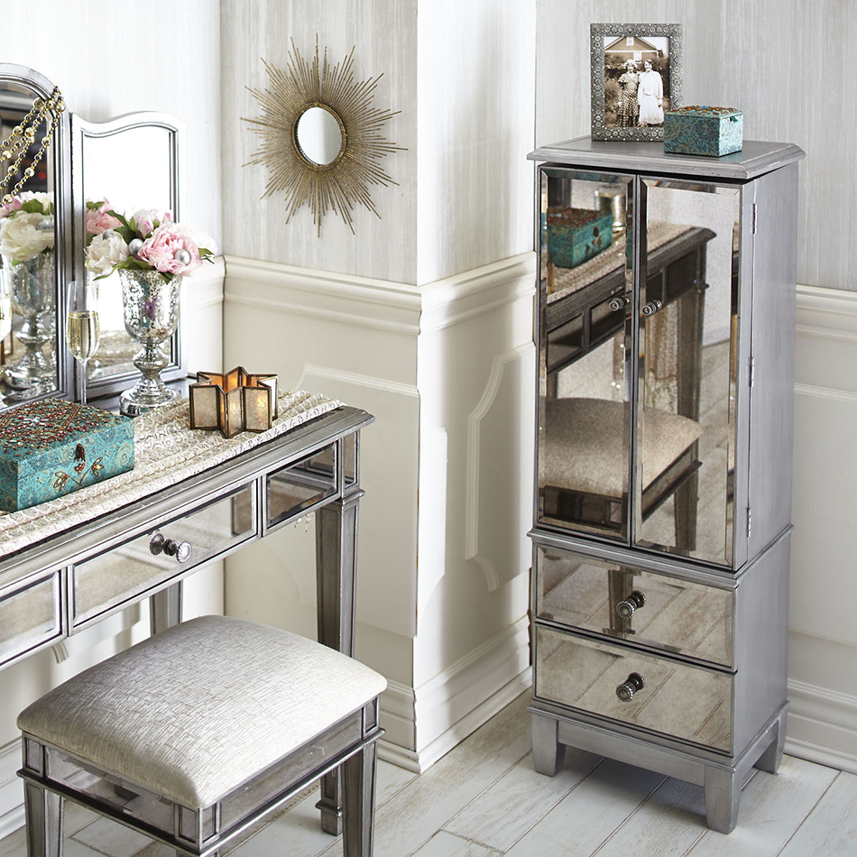 Hayworth Mirrored Silver Jewelry Armoire Mirrored Furniture