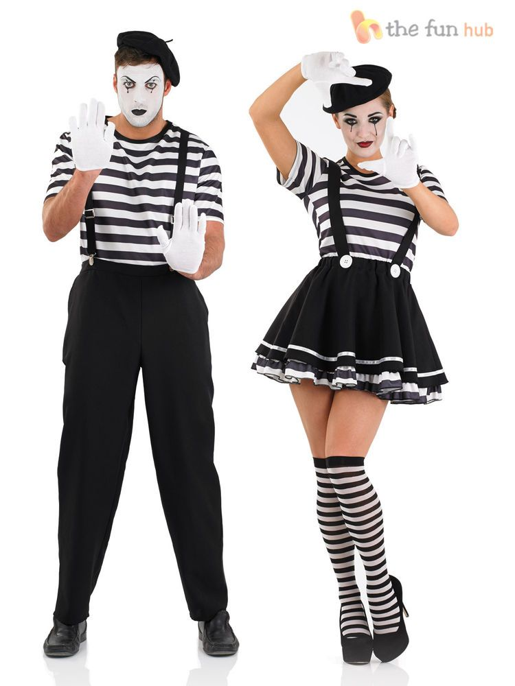 Mens Ladies Mime Artist Costume Black White Street Circus French Carnival  Outfit CompleteOutfit