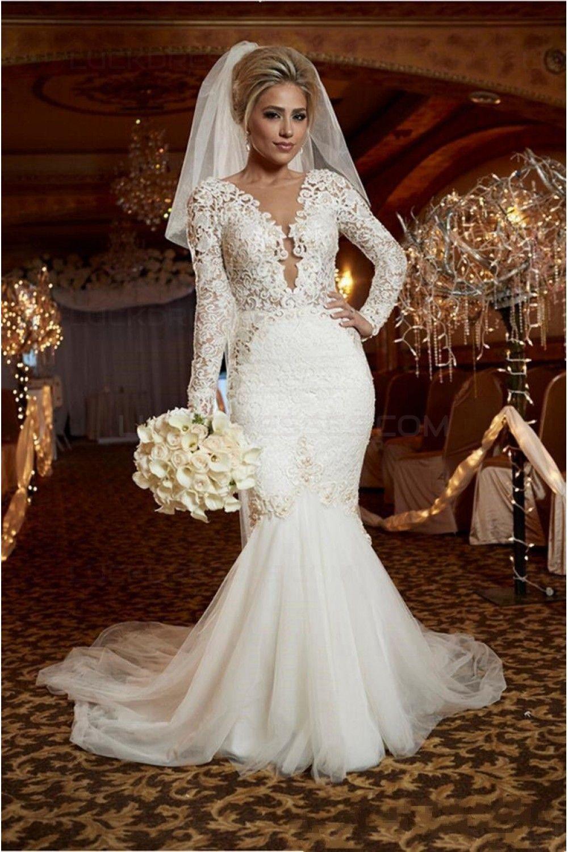 Long sleeve lace wedding dress mermaid  Sexy Mermaid Long Sleeves Lace Wedding Dresses Bridal Gowns