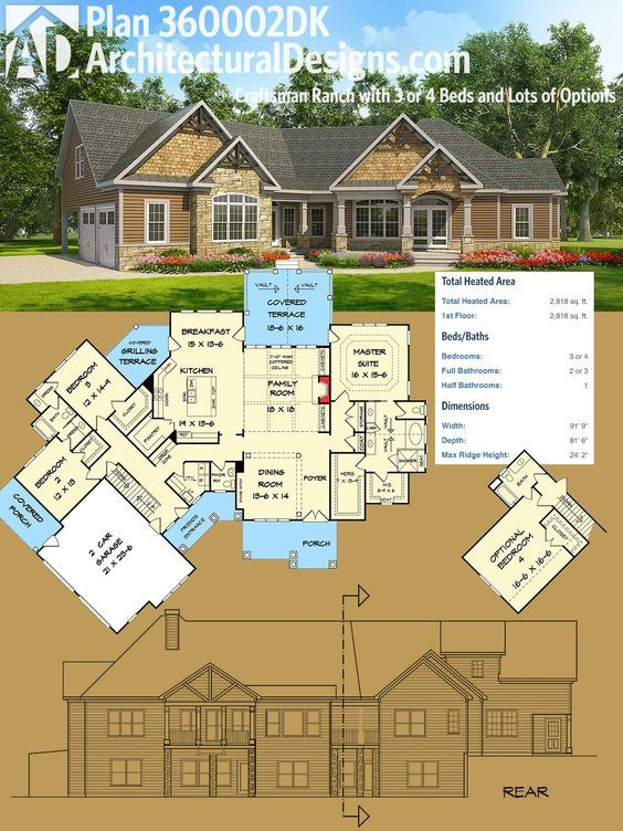 Plan 360002DK: Craftsman Ranch with 3 or 4 Beds and Lots of Options ...