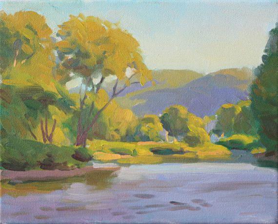 8x10 Summer Hills River Original Landscape Painting Spring Landscape Painting Sunlit Trees River New Painting Original Landscape Painting Original Oil Painting