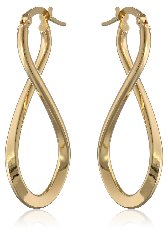 14k Italian Yellow Gold Infinity Drop Earrings
