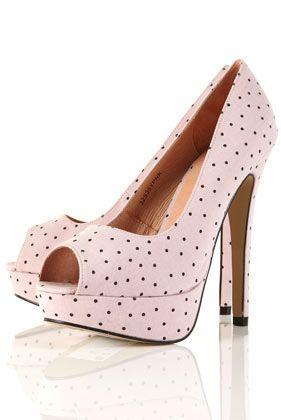 183a672ed1c SIENNA Pink Polka Dot Platform Peep Toe Shoes - High Heels - Heels ...