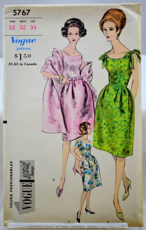 vintage VOGUE 60's sewing pattern 5767 dress and stole mad mod 12 32