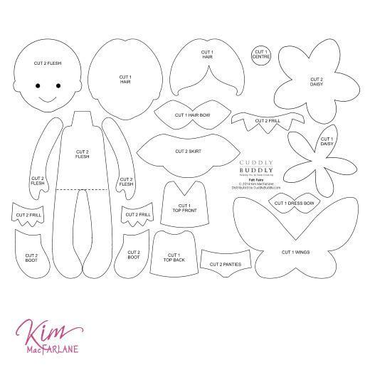 graphic relating to Free Printable Felt Doll Patterns identified as Kims Electronic Felt Habit - Felt Fairy Sewing Doll Felt