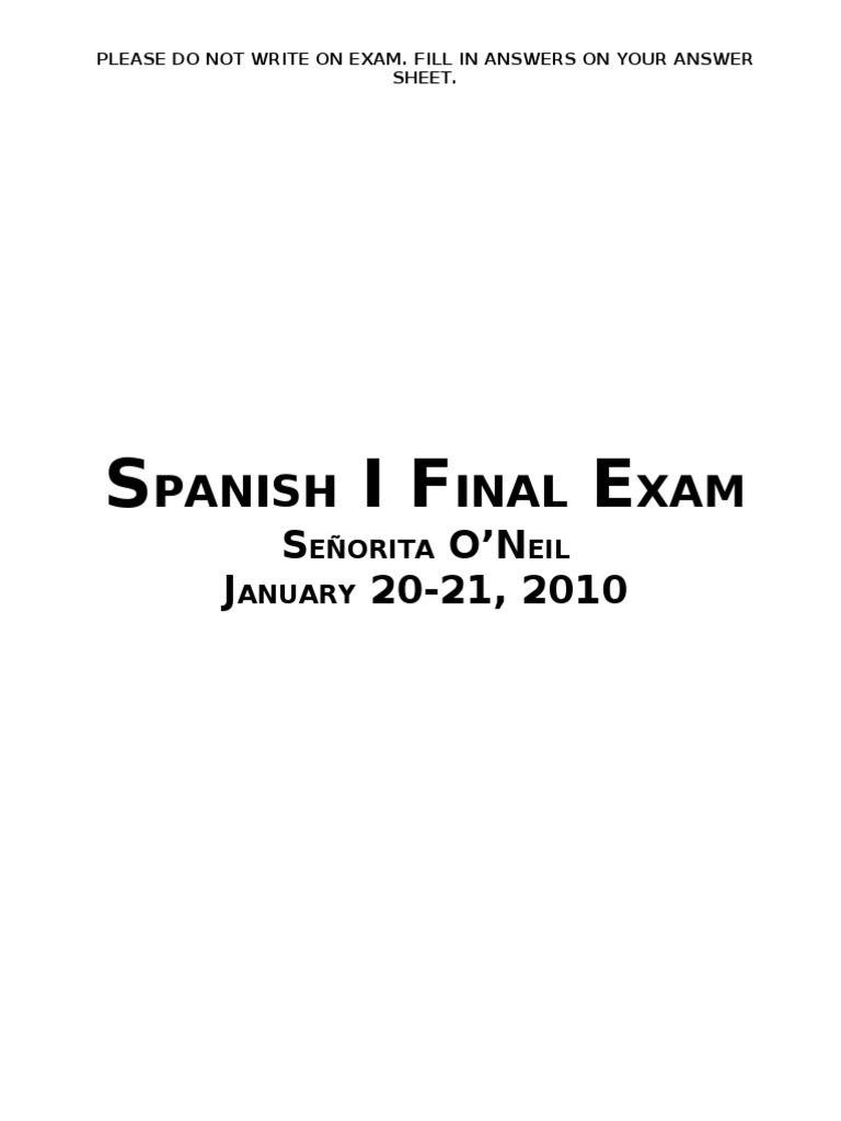 Spanish I Final Exam – Rough Draft - Free download as Word