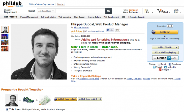 This Guy Turned His Resume Into An Amazon Product Page Online Resume Creative Resume Personal Branding