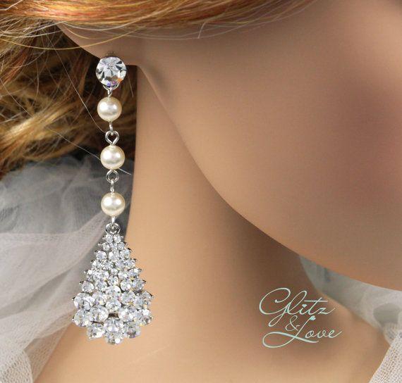 Swarovski Crystal Teardrop Earrings, Wedding Jewelry, Bridal Earrings, Bridesmaid earrings, Swarovski Crystal Ear Post, by GlitzAndLove, $45.00