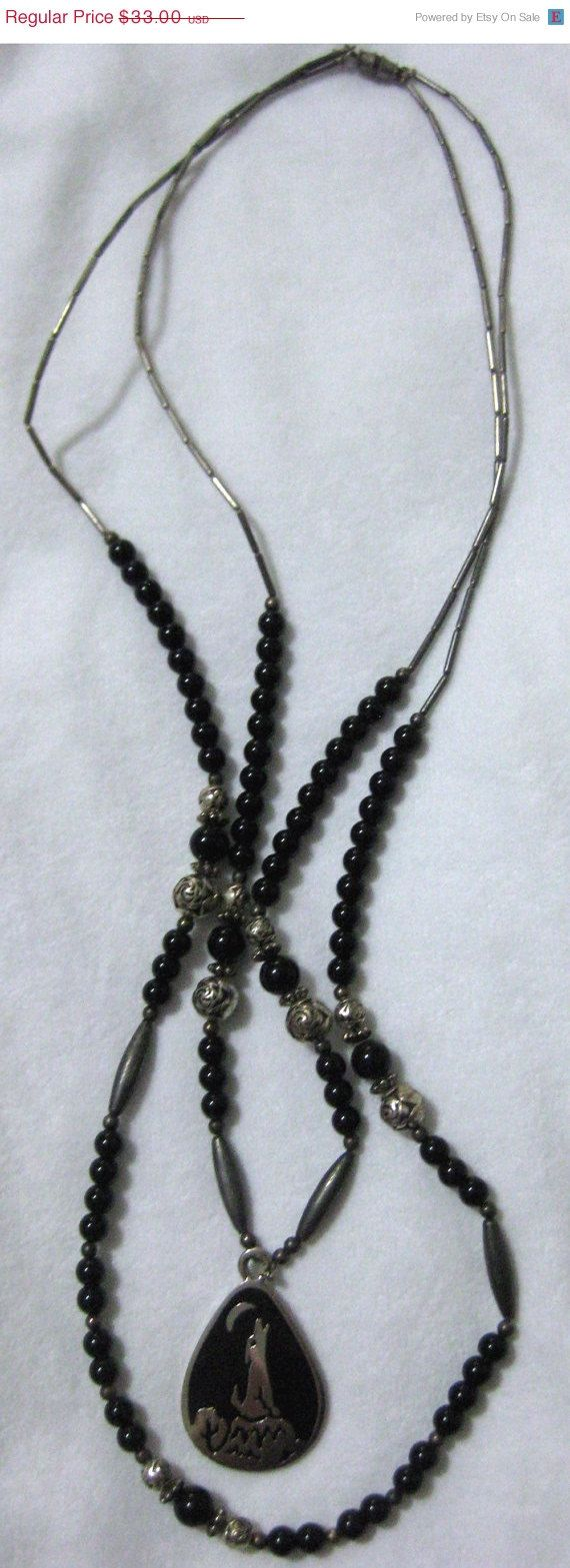 Fall Sale Vintage Black and Silver Bead-Coyote Southwest Necklace-Signed S.S.l....