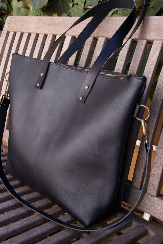 d124f8d85f39 Ready to ship! Large Black Leather bag with zip and removable Cross ...