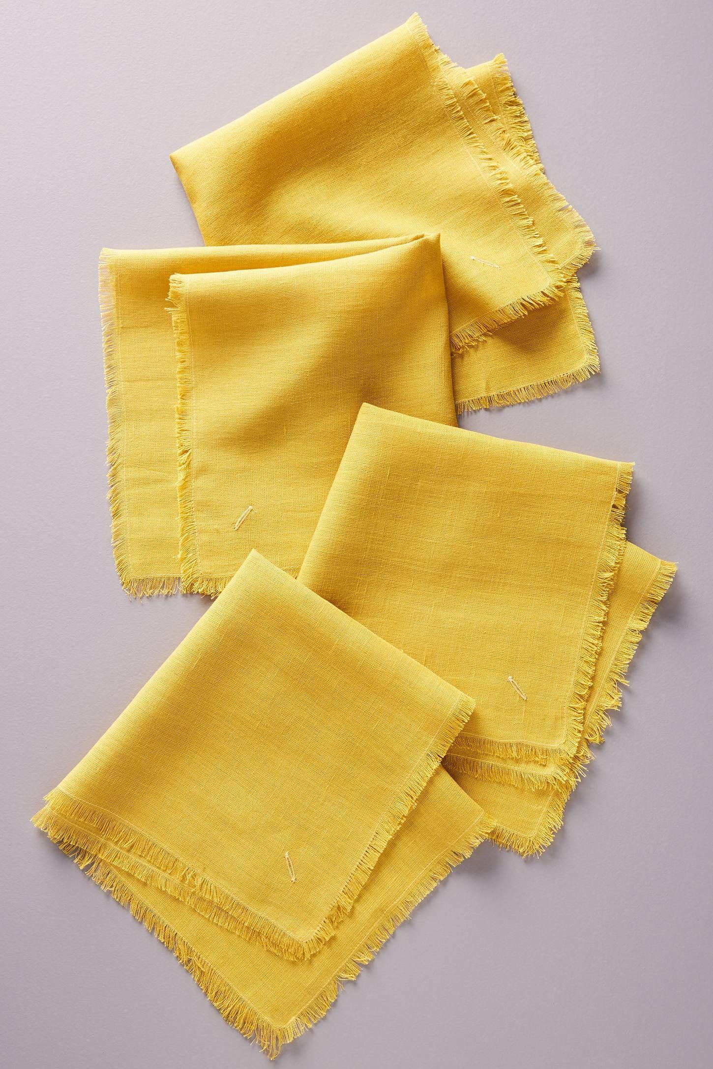 Fringed napkins set of 4 bohemian kitchen napkins