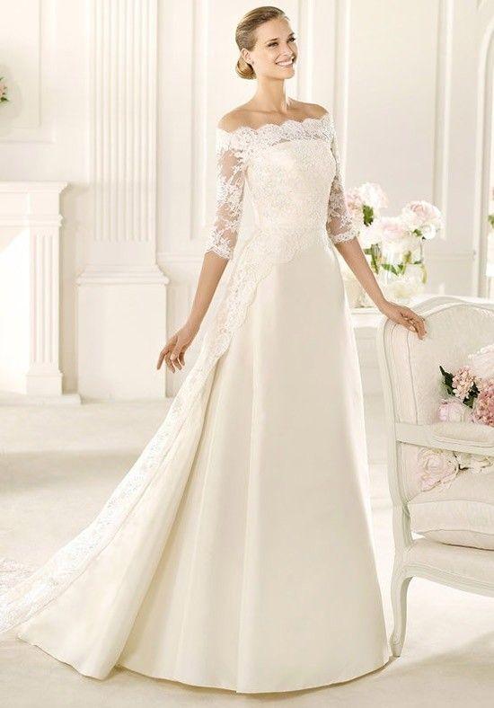 MANUEL MOTA FOR PRONOVIAS Iman #wedding_dress #off_the_shoulder #princess #sleeves #gorgeous