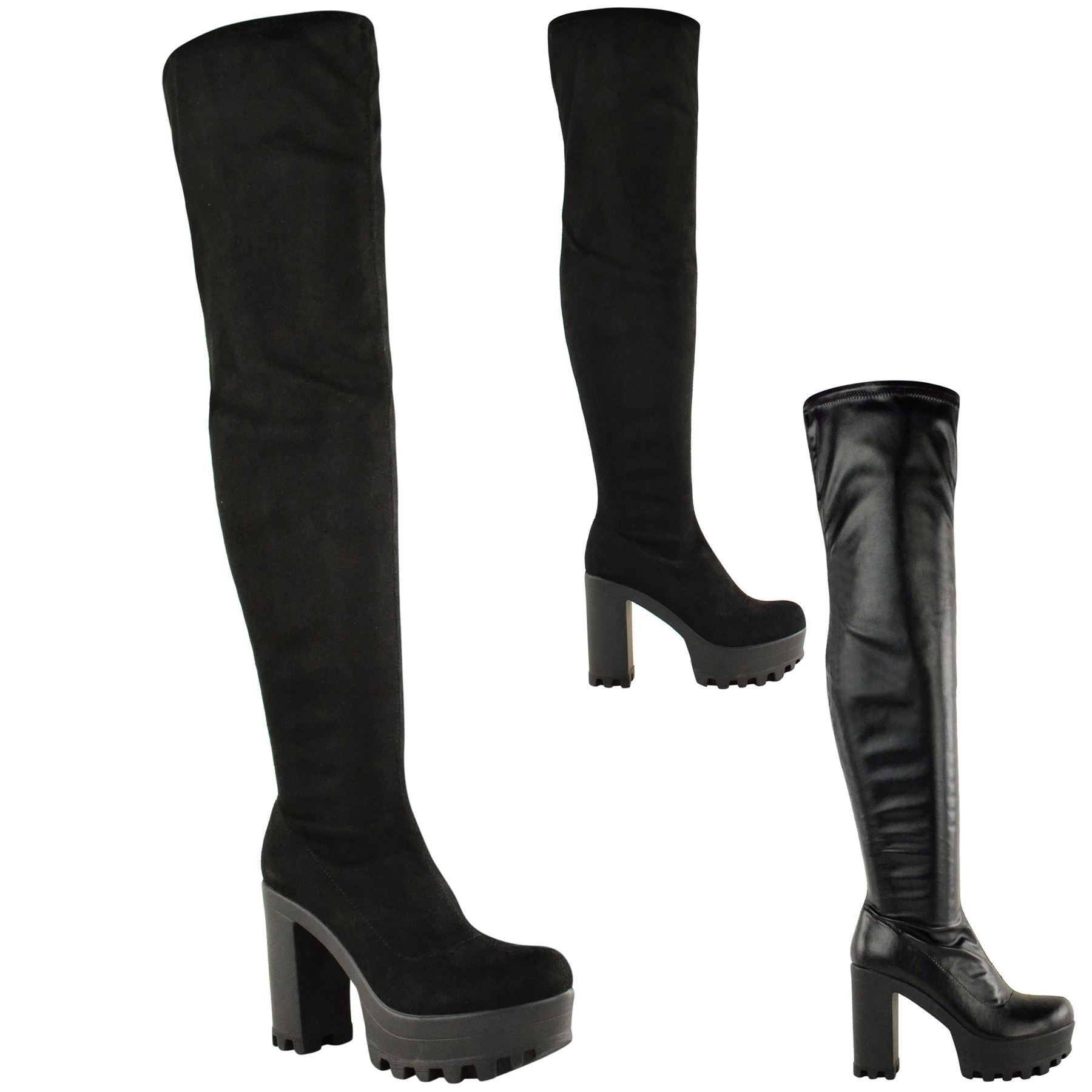 Ladies womens over the knee thigh high chunky platform block heel ...