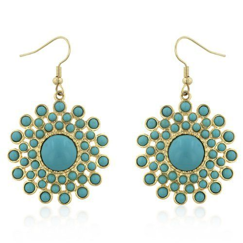 14k Yellow Gold Plated Turquoise Sunburst Dangle Earrings Element Jewelry. $37.00. Original Design. Satisfaction Guaranteed. Matching Necklace Also Available. High-Fashion Piece. 14k Gold Look Without the High Price Tag. Save 20%!