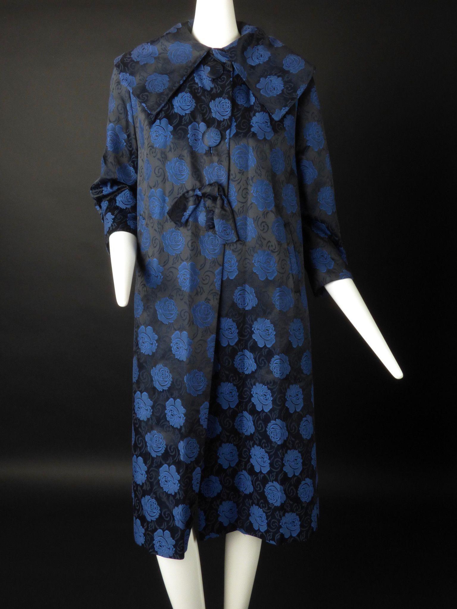 1950s Blue & Black Floral Brocade Cocktail Coat, Size-6