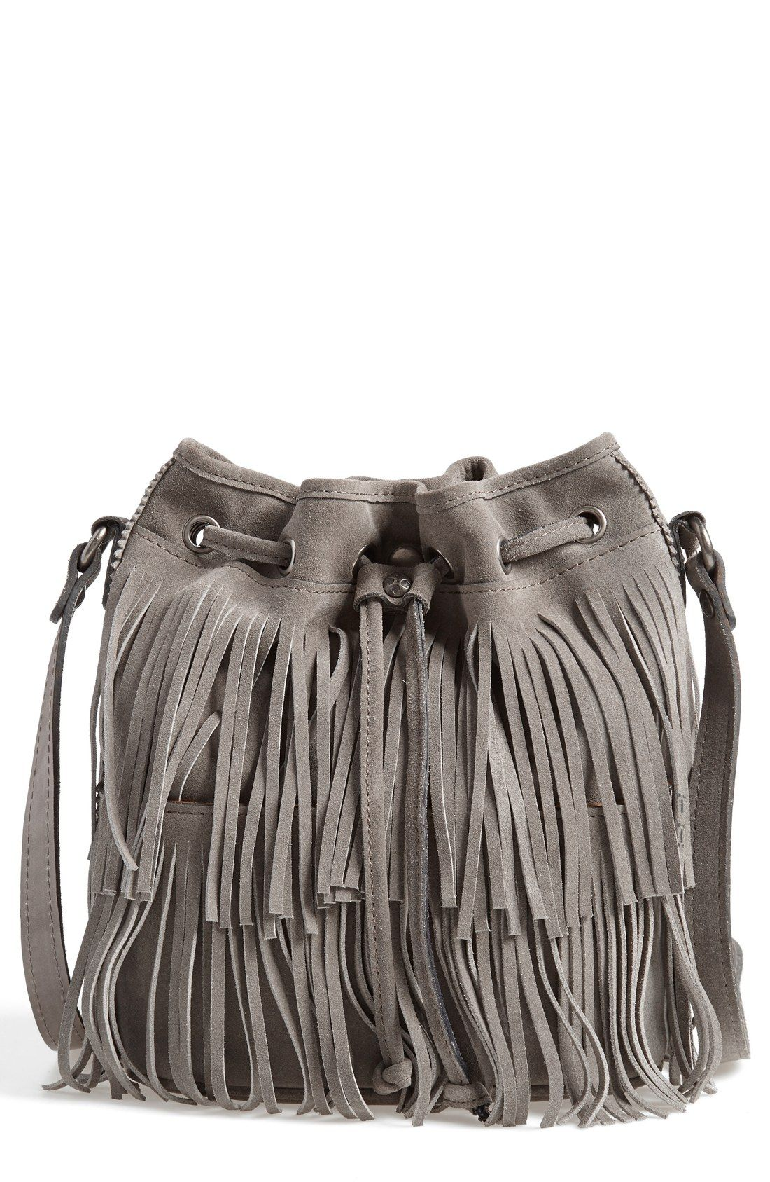 A Lush Fringe Bag Is The Perfect Fall Accessory Can Use This Gray Bucket For Class Or Just Out And About