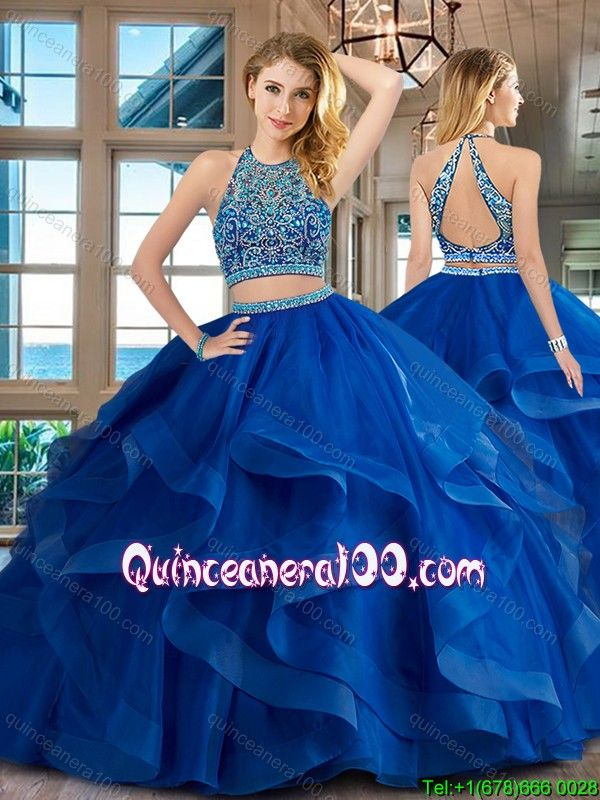 6bef47ea2bd Pretty Beaded and Ruffled Brush Train Quinceanera Dress in Royal Blue -  Quinceanera 100