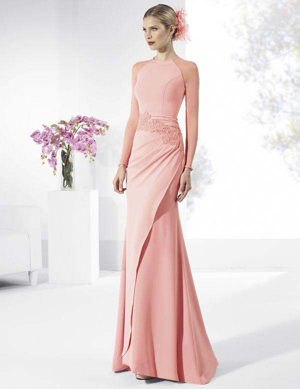 Vestidos de fiesta largos de crep rosa cuarzo con fajín drapeado ...
