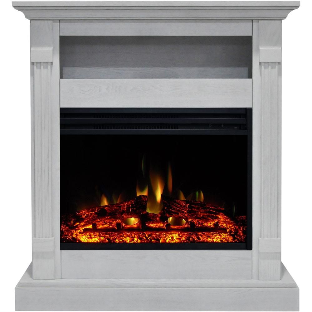 Cambridge Sienna 34 In Electric Fireplace Heater In White With