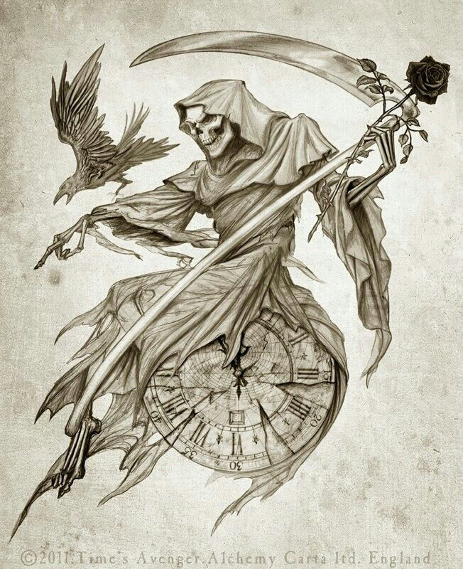 Time S Avenger Alchemy Gothic Reaper Tattoo Angel Of Death Tattoo Death Tattoo