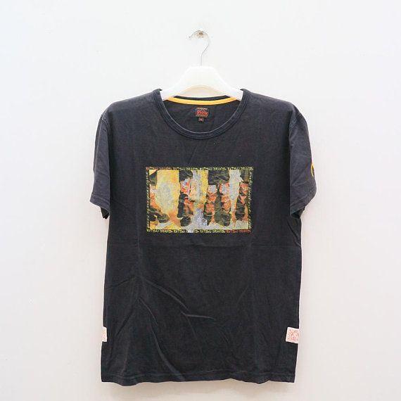 Vintage EVISU JEANS Japanese Brand Streetwear Black Tee T Shirt Size M