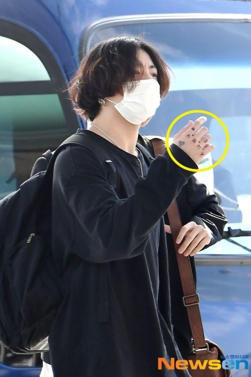 Tae And Jungkook Tattoo: 190916 Incheon Airport Departure #BTS