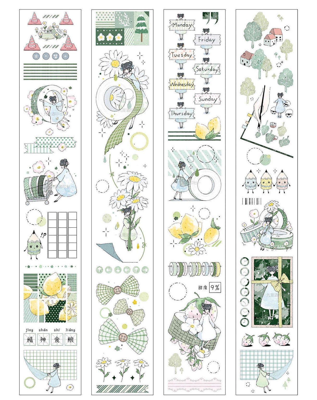 Washi tape samples,washi tape, cute tape, masking tape,deco tape | Green Girls with Stationery themed Washi Tape,40mm Width, 210225-14