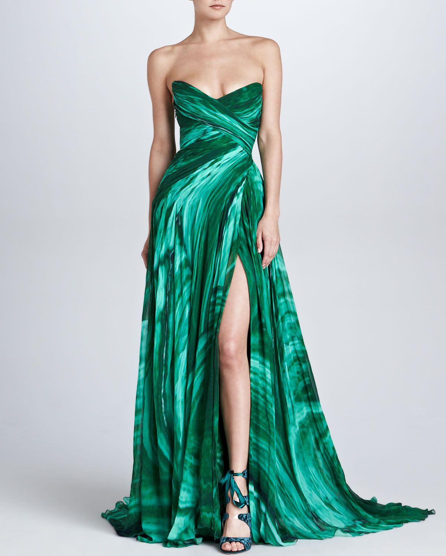Monique Lhuillier Strapless Sweetheart Malachite-Print Gown - Neiman ...