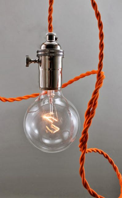 Exceptional Mod Orange Bare Bulb Pendant Lighting    Hanging Light Fixture Edison  Exposed    Swag Wired Lamp   Simple And Fun Good Ideas