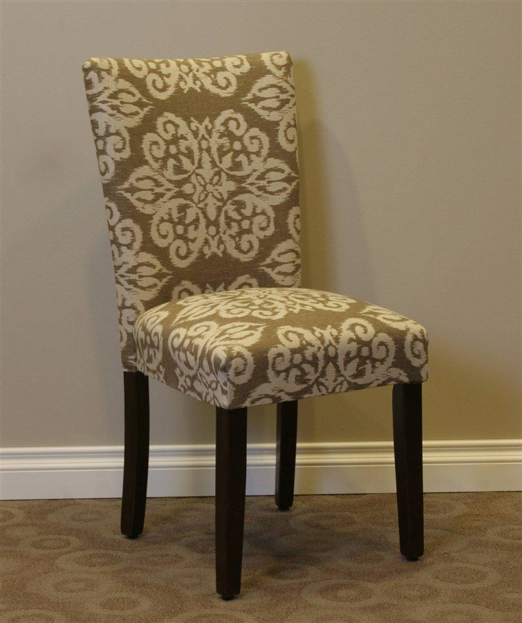 99 00 Itaki Parsons Chair In Taupe And Ivory Upholstery Parsons Chairs Chair Parsons Dining Chairs