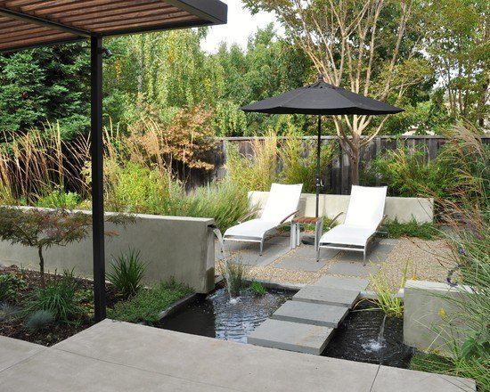 Landscaping ideas garden water features high perennials privacy garden fence lounge chairs