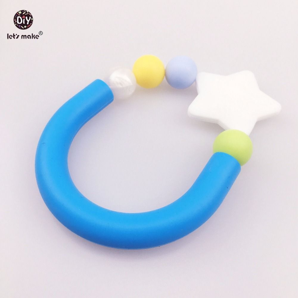 Let's Make Star Round Beads Silicone Baby Teether Bracelet 5pcs Sensory Baby Gym Toys Stretchy Silicone Teethers Bracelets