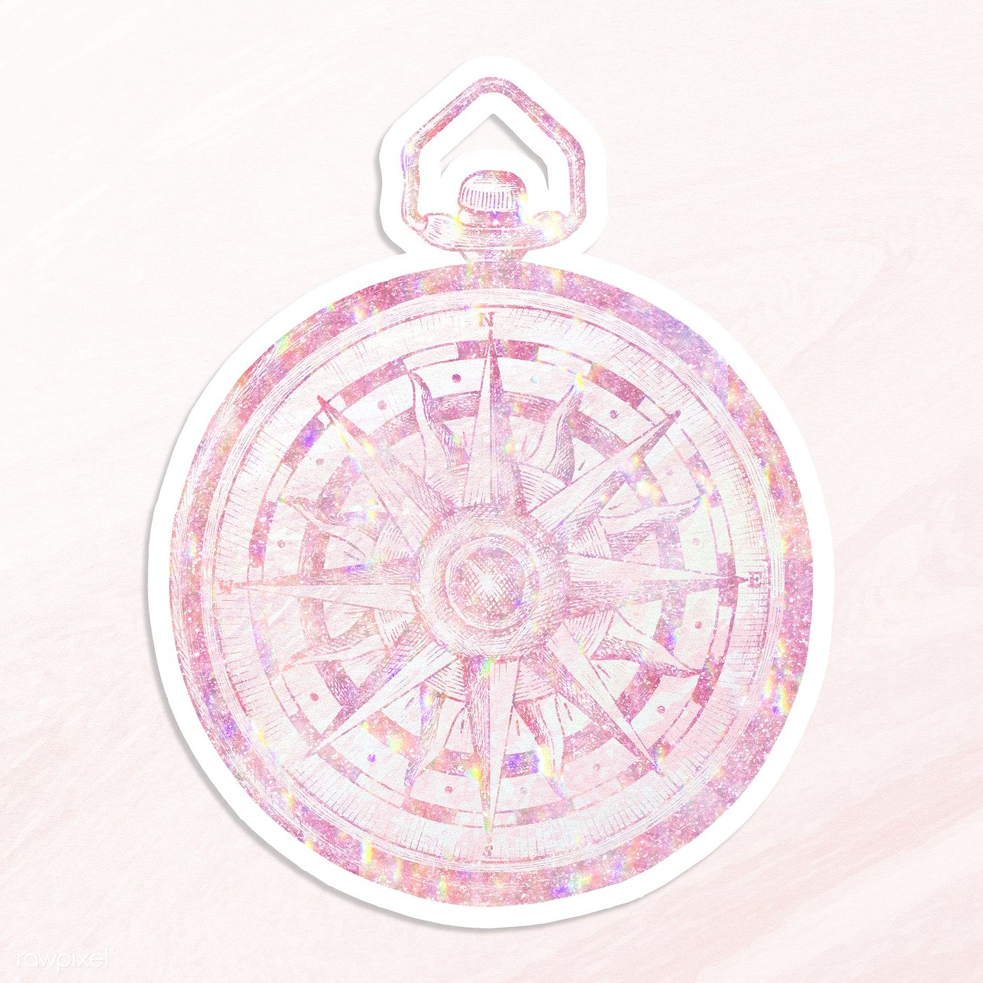 Download Premium Illustration Of Pink Holographic Compass Sticker With A In 2020 Illustration Holographic Clip Art