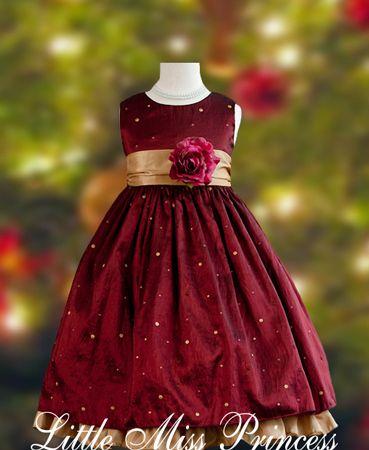 Elegant Wine Polka Dot Christmas Dress:(Girls Christmas Dresses ...