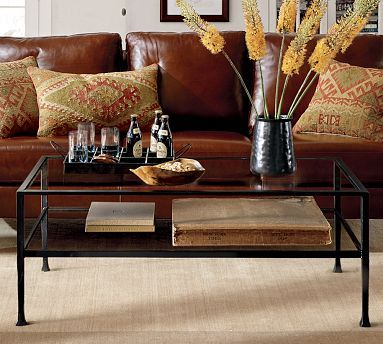 to make smaller spaces appear larger use a visually lighter table with some storage underneath pottery barn tanner rectangular coffee table - Pottery Barn Glass Coffee Tables
