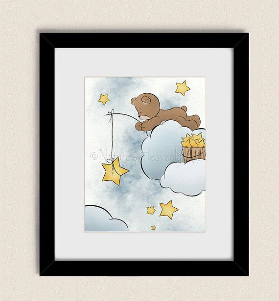 Moon and Stars Decor for Nursery, Baby Boys Room Art ...