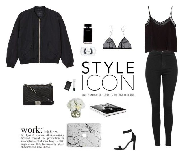 """""""Street style. Black."""" by djulia-tarasova ❤ liked on Polyvore featuring Yves Saint Laurent, Tom Ford, MAC Cosmetics, Diane James, Topshop, Monki, MANGO, Chanel, Narciso Rodriguez and WALL"""