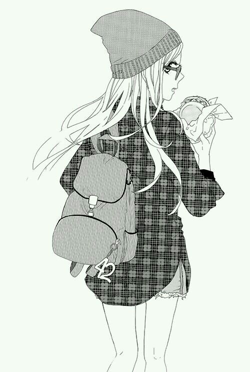 Manga Fille Noir Et Blanc Bonnet Hamburger Sac Anime Girl