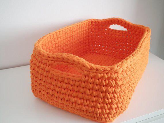 Big Orange Storage Basket Crochet Storage Box By LoopingHome, U20ac43.00