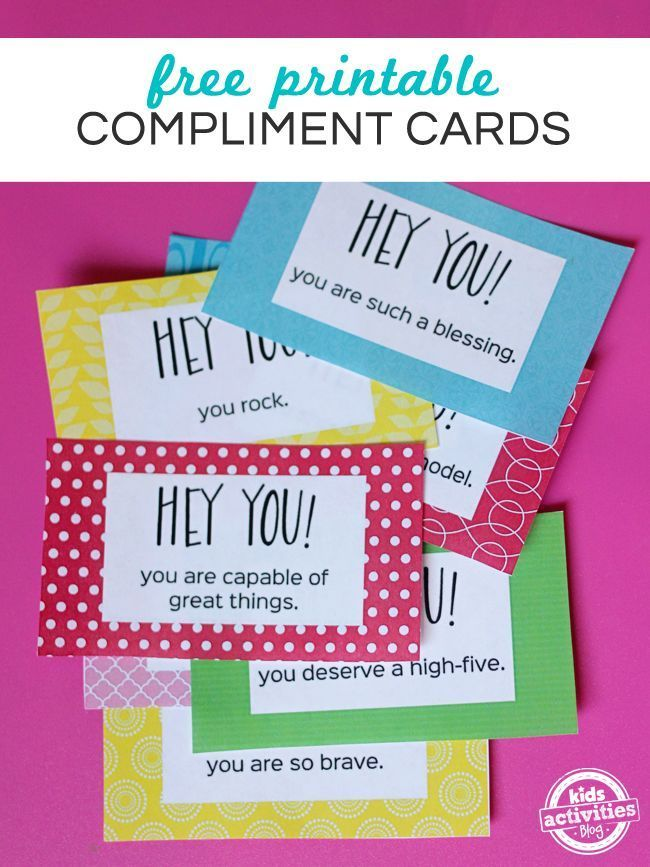 Free Printable Compliment Cards To Make People S Day Brighter Kindness Activities Compliment Cards Kindness Projects