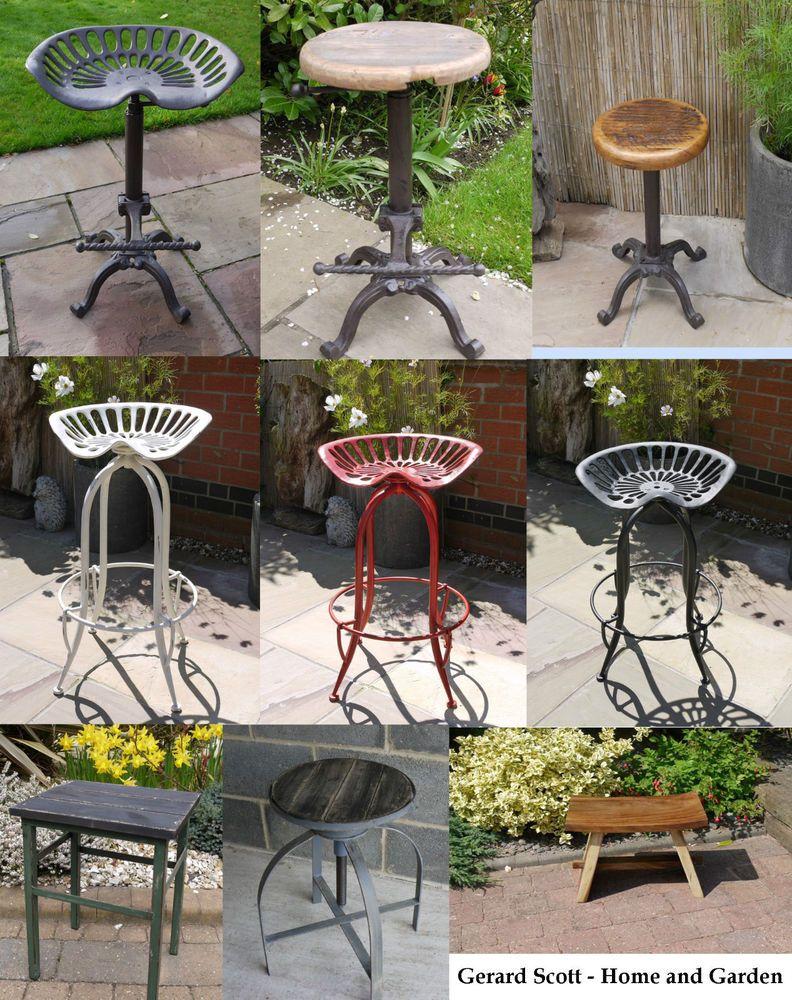 Rustic Vintage Tractor Wooden Seat,Breakfast Bar Kitchen Stool Cast Iron,  Garden