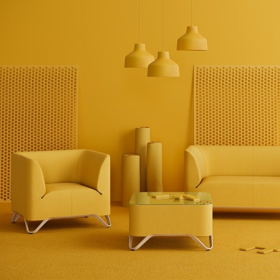 Softbox Yellow Interior Monochrome Interior Monochromatic Room Yellow background living room