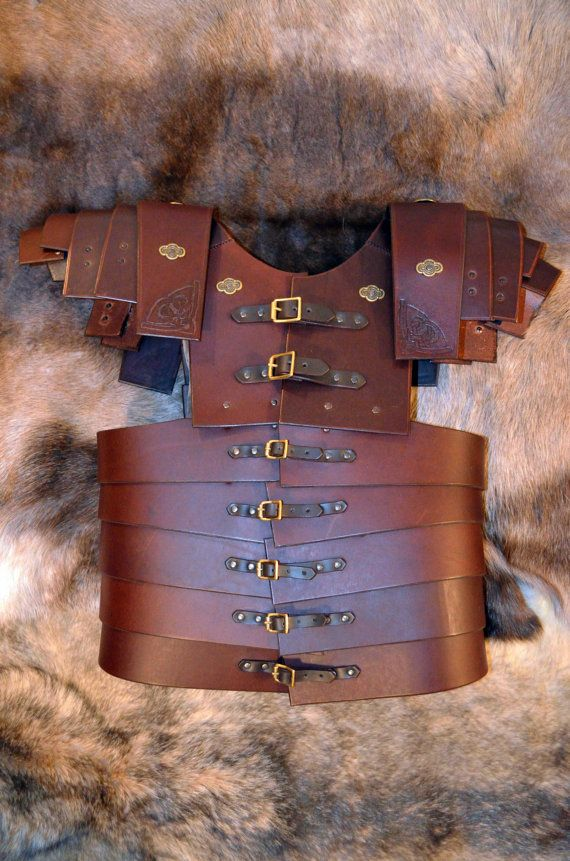 Medieval Cosplay Centurion Belt Leather with Riveted Brass Plates and Buckle