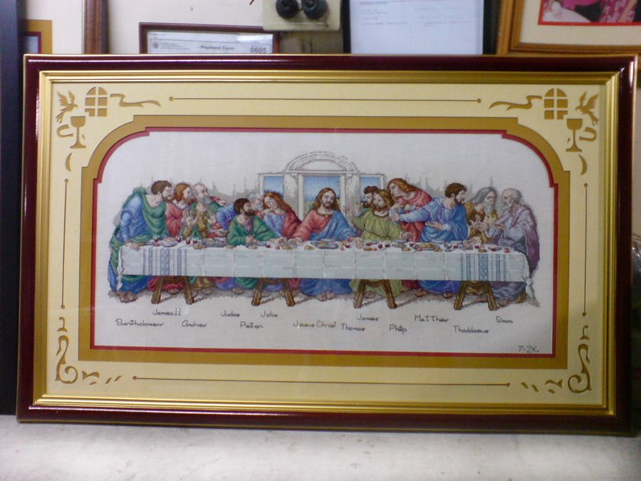 the last supper cross stitch x 23 size with frame single frame triple matting with design