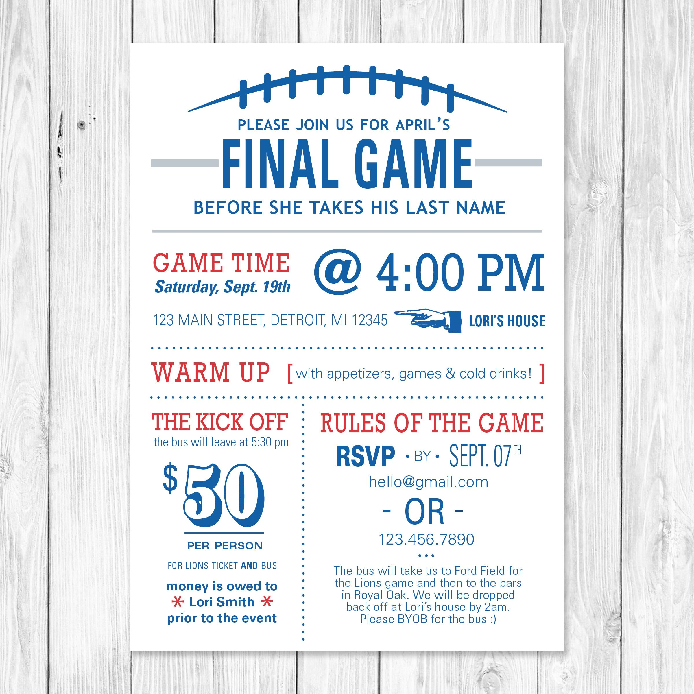 the final game football themed bachelorette party invite customizable to your favorite team