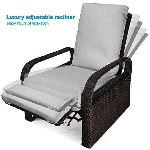 Luxury Patio Recliner Chair Babylon Dualuse IndoorOutdoor Resin Wicker  Adjustable Recliner Patio Relaxing Lounge Rattan Armchair With Cushions  Brown Gray ...