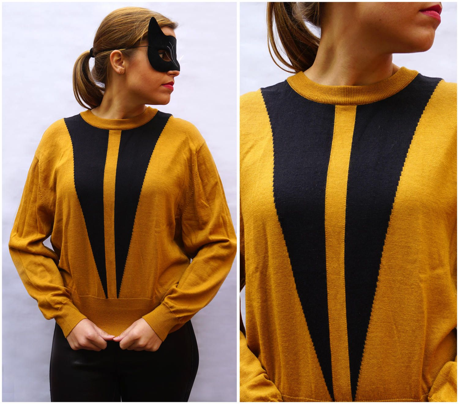 1970's Oversized Loose Pullover Sweater in Mustard Yellow and ...