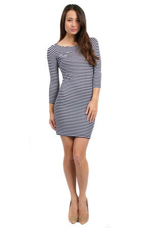 The Bianca Dress in Navy Stripe by Rachel Pally from MFredric.com $178