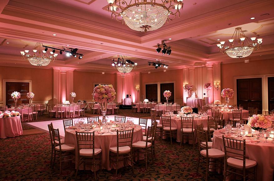 Soft Pink Uplighting Wedding Lights