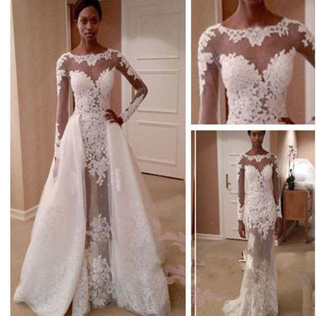 Long Sleeve Lace Unique See Through Vintage Princess Wedding Dresses Pd0511 Sheer Wedding Dress Wedding Dress Train Detachable Train Wedding Dress